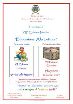 """Presentazione Concorsi VIII^ edizione dell'iniziativa """"Educazione alla Lettura"""""""
