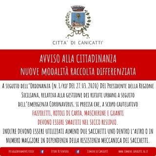 EMERGENZA CORONAVIRUS: nuove disposizioni raccolta differenziata Ordinanza 1/Rif del 27/03/2020 Presidente Regione Siciliana