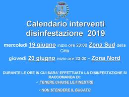 Calendario interventi di derattizzazione (13 e 14 giugno) e disinfestazione (19 e 20 giugno) e relative raccomandazioni