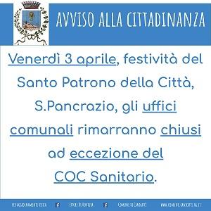 Avviso chiusura Uffici Comunali Festività Santo Patrono