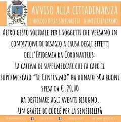 """Prot. n. 13995 del 31/03/2020 """"Donazione di n. 500 buoni spesa dal Gruppo CDS"""" (391.28 KB)"""