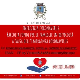 EMERGENZA CORONAVIRUS: Attivazione CC fondo SOLIDARIETA' COVID-19- COMUNE DI CANICATTI',  IBAN   IT 05 V 02008 82882 000105891092.