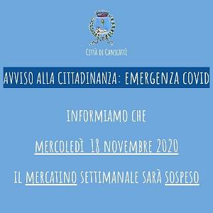 Sospensione Chiusura mercatino nella giornata del 18 novembre  2020 - Emergenza Coronavirus