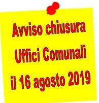 Chiusura Uffici Comunali in occasione delle festività di Ferragosto