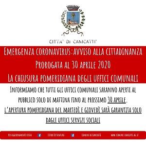 EMERGENZA CORONAVIRUS: chiusura pomeridiana fino al 30.04.2020