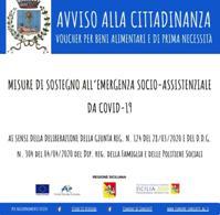 Misure di sostegno all'emergenza socio-assistenziale da Covid-19 ai sensi della Deliberazione della Giunta Regionale della Regione Siciliana n. 124 del 28/03/2020