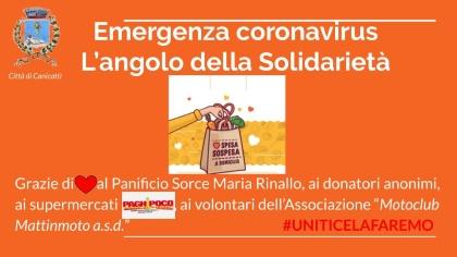 EMERGENZA CORONAVIRUS: L'angolo della Solidarietà - La spesa sospesa ai supermercati Paghi Poco e il pane fresco donato dal panificio Rinallo