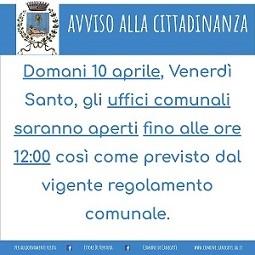 """Chiusura Uffici Comunale ore 12:00 in occasione del """"Venerdì Santo"""""""