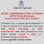 O.S. n. 32 del 01/04/2021 - Chiusura al pubblico degli uffici comunali del comando della polizia municipale di c/da Carlino per venerdì 02 aprile