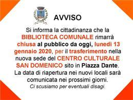 Avviso chiusura Biblioteca Comunale