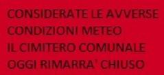 """Ordinanza Sindacale n. 210 del 02/11/2018 """"Avverse condizioni meteo di preallarme - ALLERTA ARANCIONE"""""""